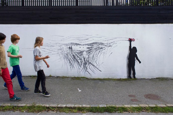 Tribute to Edvard Munch- By Pejac at Nuart