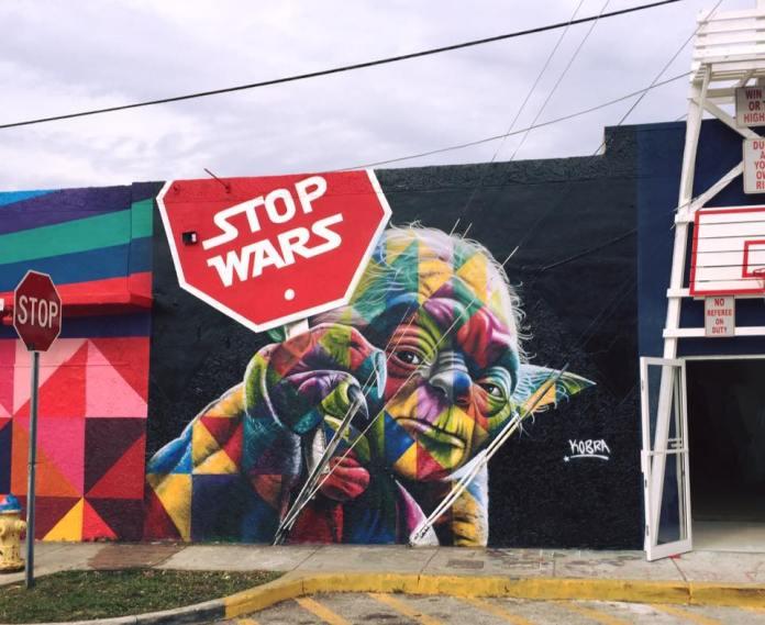 Stop Wars - Street Art By Eduardo Kobra at Art Basel in Wynwood, Miami
