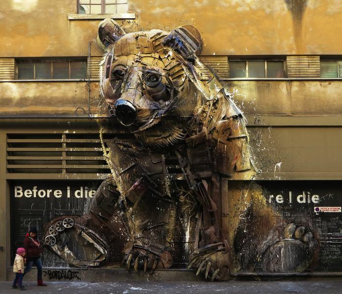 Bear – By Bordalo II in Turin, Italy