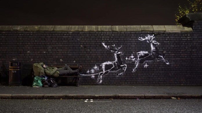 New Banksy highlight plight faced by homeless at Christmas