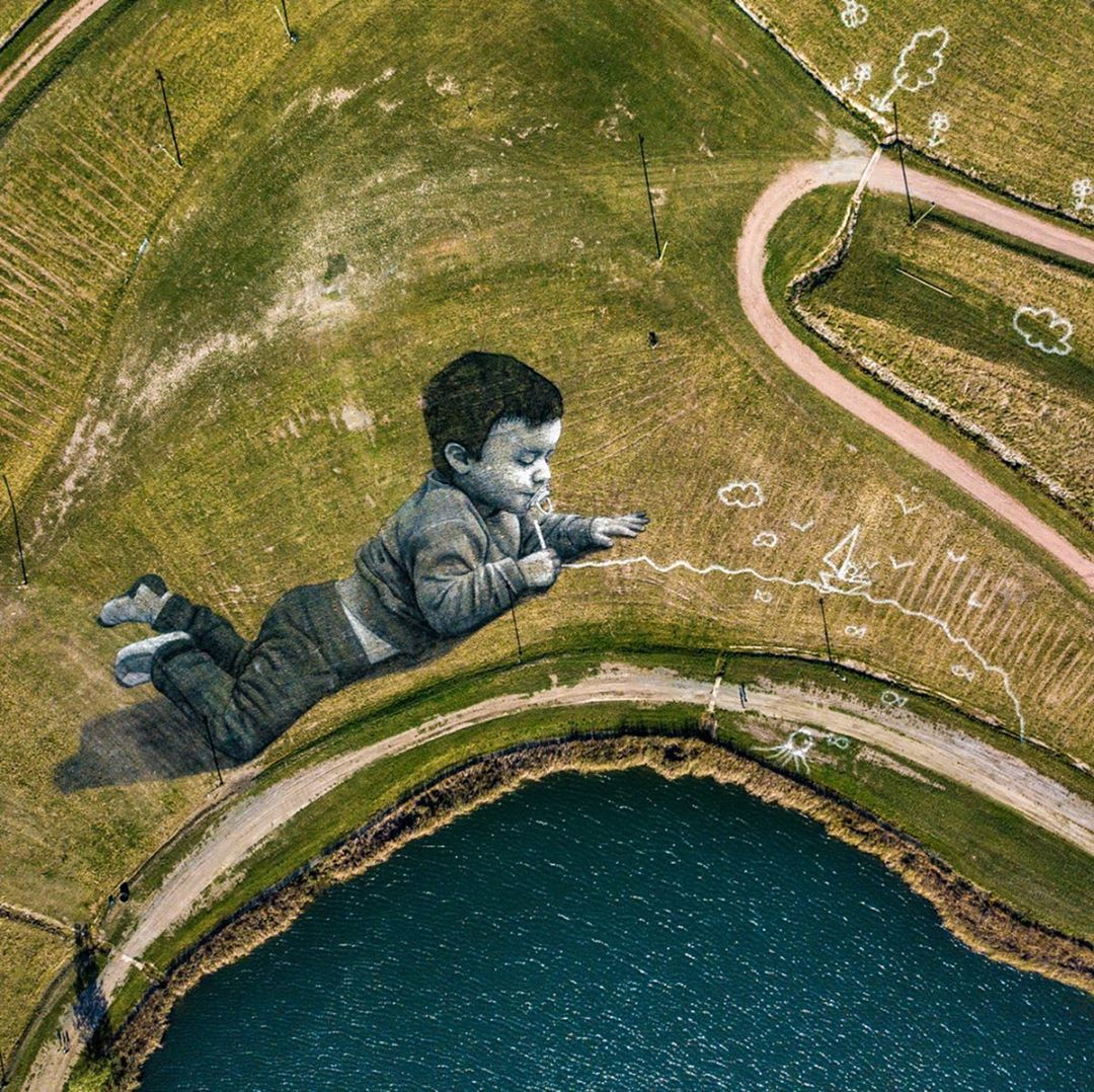 HUGE (10,000 m2) artwork by Saype in Decazeville, France (7 photos) - Street Art Utopia