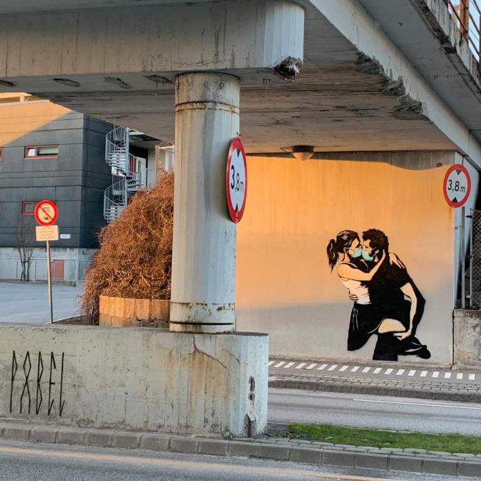 Stret Art by Pøbel in Bryne, Norway on Corona and Love.
