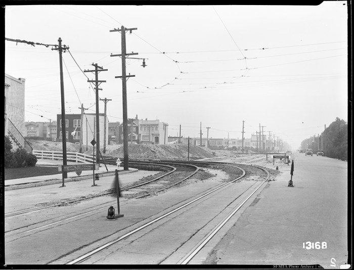 Streetcar Track Construction at Lincoln Way and 36th Avenue Looking West | December 1, 1931