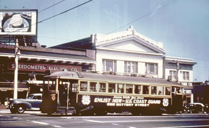 H-2e car 131 painted Coast Guard on Van Ness at Eddy  1948   copy