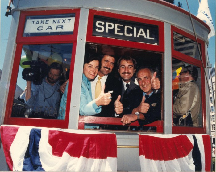 Right after this shot was snapped, Mayor Dianne Feinstein (left) took the controls of Muni Car No.1 and personally piloted it down Market Street to open the first Trolley Festival in June 1983. That success led to the permanent F-line, and now the E-line.