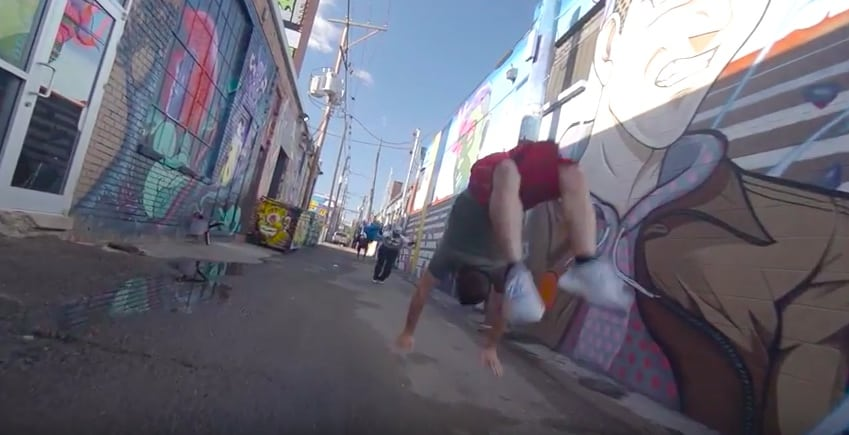 85 Tumbling through the streets of Colorado!! - Street Gymnast13