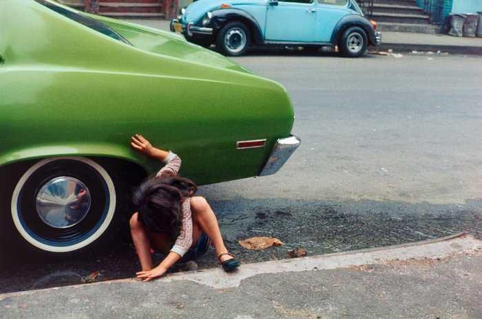 """""""Girl/Green Car"""" by Helen Levitt"""