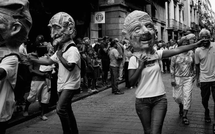 """""""Capgrossos"""" (""""Traditional Catalan 'Big heads' figures"""")  by Jordi Mallol i Comas Shot in Barcelona, Catalonia, Spain the 24th September 2014"""