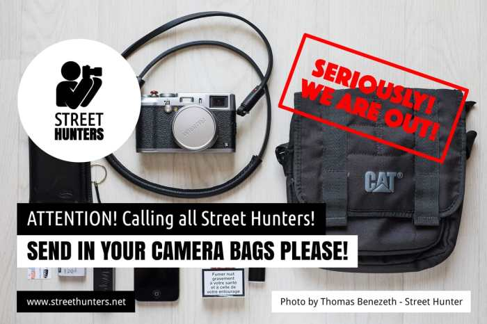 Please send in your Camera Bags!
