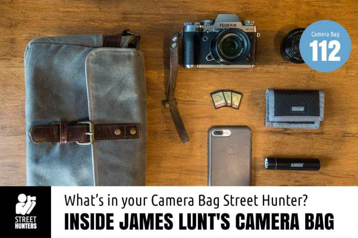 Inside James Lunt's camera bag