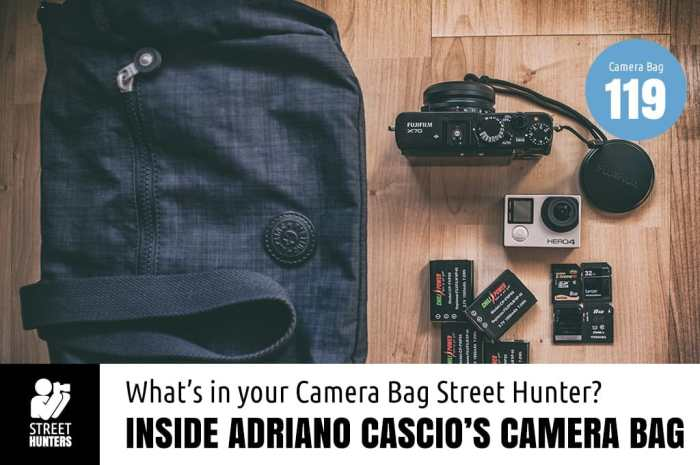 Inside Adriano Cascio's camera bag