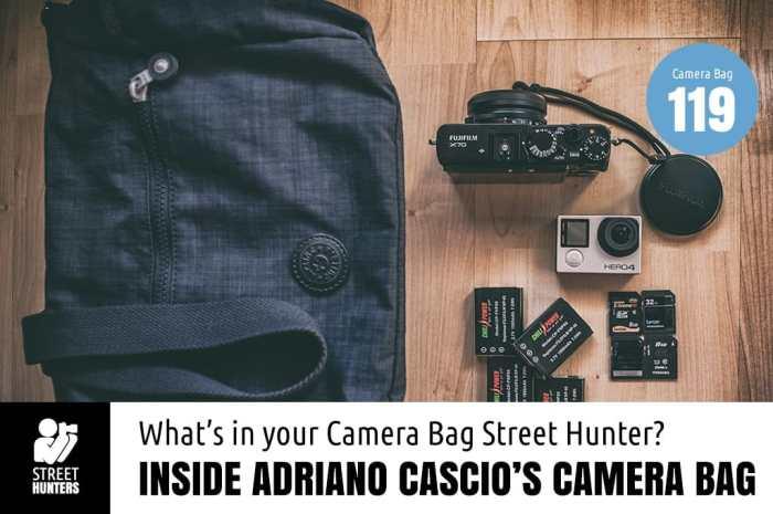 Inside Adriano Cascio's camera bag