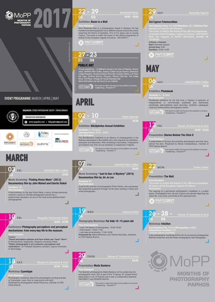 Months of Photography Paphos Public Art 2017 Schedule