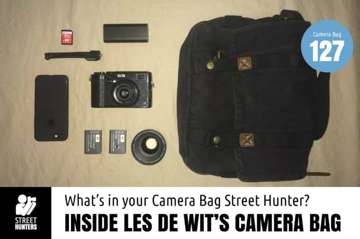 Inside Les de Wit's camera bag
