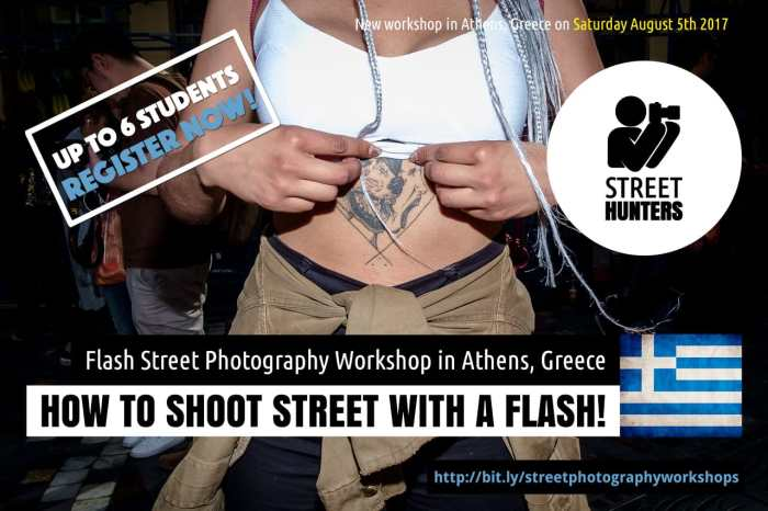 Flash street photography workshop in Athens