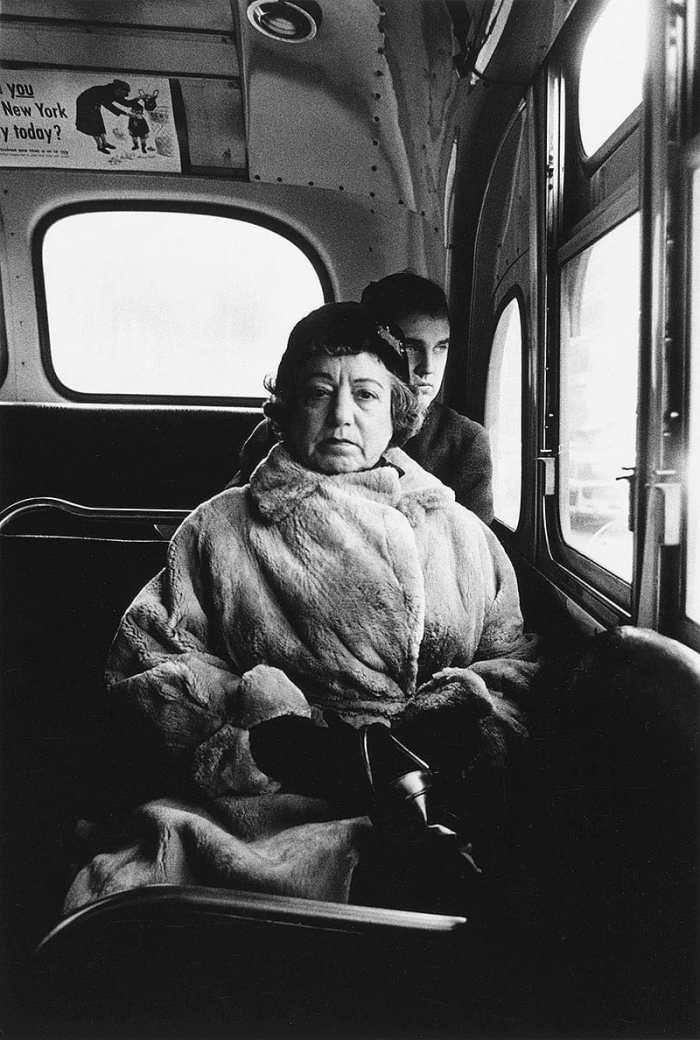 Lady in bus by Diane Arbus