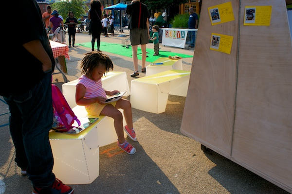 See more photos of Uni reading room, Putnam Triangle Plaza, Clinton Hill, Brooklyn. Aug 8, 2014