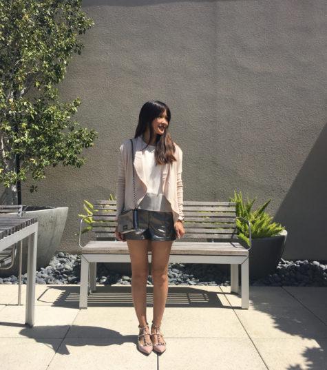 metallic shorts and blush