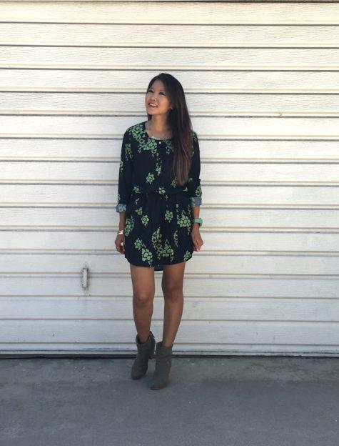 makemechic dark green challis floral dress