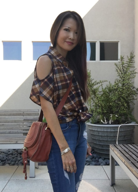 plaid open shoulder top ripped jeans outfit