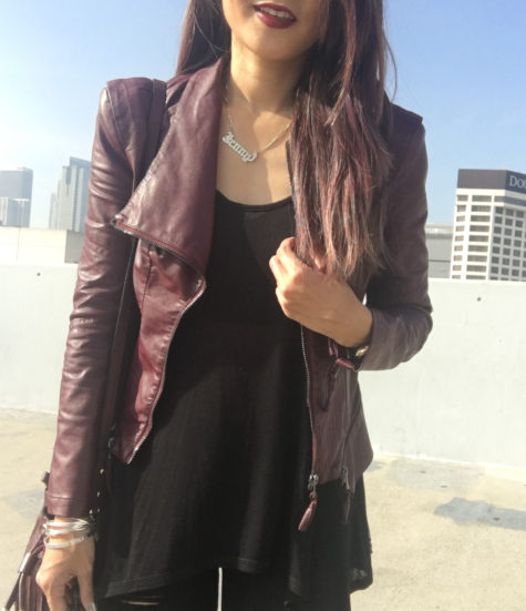 burgundy blanknyc faux leather jacket