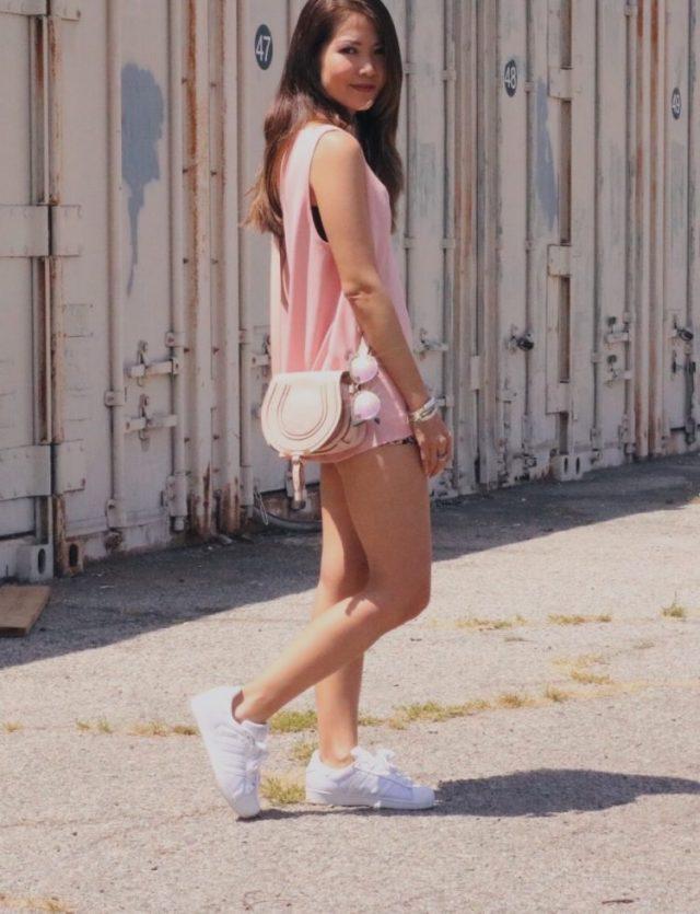 girl in pink tank top with chloe marcie bag