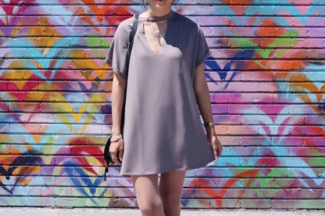 girl wearing forever 21 cutout tshirt dress