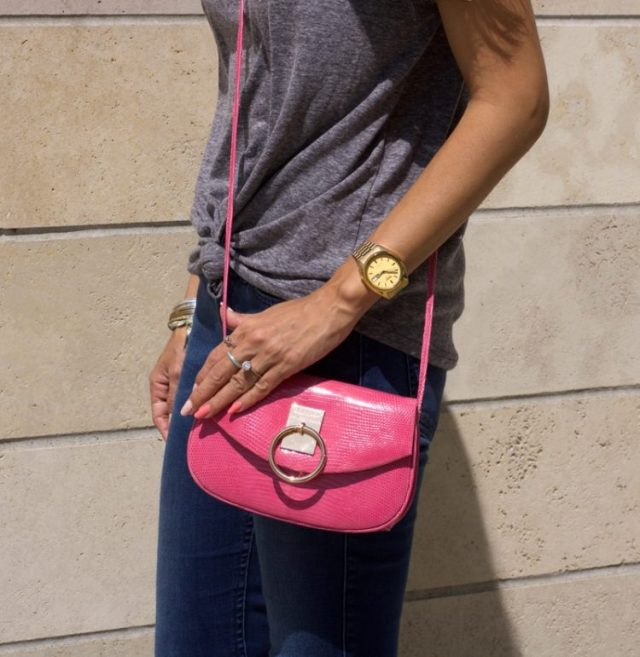 pink lizard skin crossbody purse