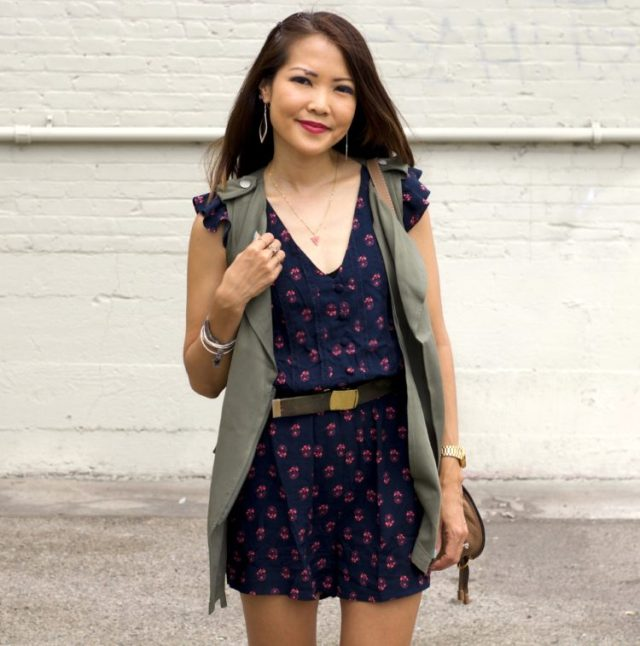navy floral romper and army vest modcloth