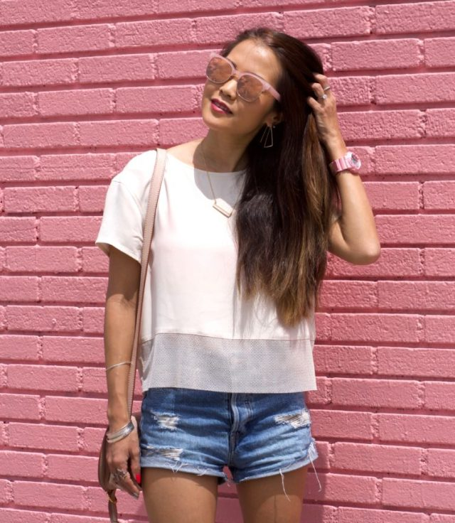 pink wall summer outfit foster grant sunglasses