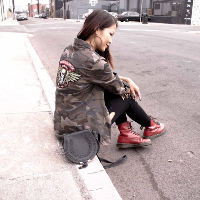 camo and red doc martens outfit