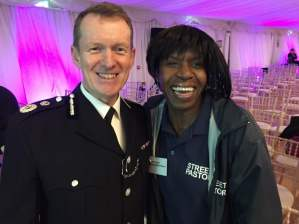 CC Stephen Kavanagh with Billericay street pastor Andrea Mendes