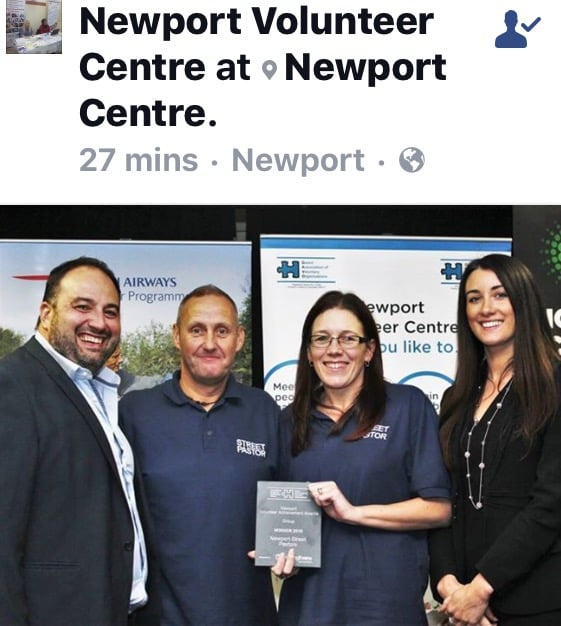 "Photos of Lisa and I receiving the award for Newport Street Pastors who won the ""Group Award for Contributions to the wellbeing of the community"""