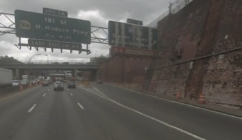 A man walking on this Cross-Bronx Expressway exit ramp was killed in a hit-and-run early this morning. Image: Google Street View.