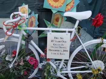 This memorial to Eric Ng, killed in __ on the West Side Highway, is no derelict. Photo: