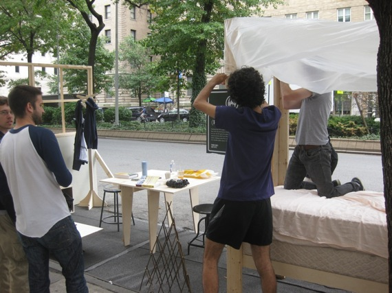 A Park(ing) Space at Broadway and 113th recreated an entire dorm room. Photo: Noah Kazis.