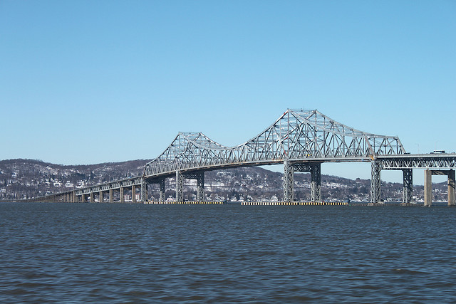 The Tappan Zee Bridge is the only way across the Hudson between _ and _ and is deteriorating rapidly. No one knows how a new bridge will be paid for. Photo: via Flickr.