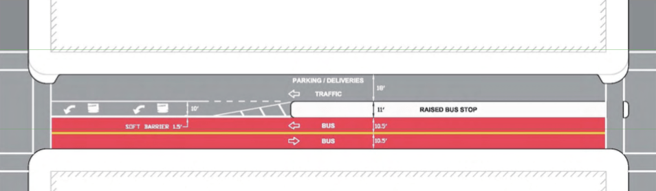 One option for 181st Street would create a two-way, separated transit mall. Image: NYC DOT.