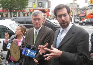 Assm. Brian Kavanagh and Sen. Daniel Squadron explain Hayley and Diego's Law, which takes effect today. Photo: Noah Kazis.