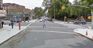 The intersection of Classon Avenue and Fulton Street, where a pedestrian may have been killed by a driver this morning. Image: Google Street View.