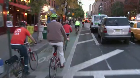 The new Columbus Avenue protected bike lane drew the wrath of local merchants angry about curb access last night. Image: Clarence Eckerson.