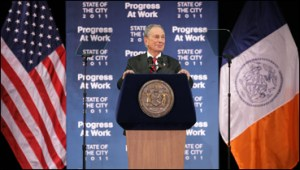 Mayor Bloomberg delivering the State of the City today. Image: NYC.gov.