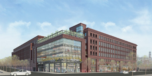 This plan for a Washington, D.C. Wal-Mart integrates the store into the urban environment. But is a Wal-Mart worth integrating? Image: Greater Greater Washington.
