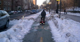 The Prospect Park West bike lane, January 16, 2010.