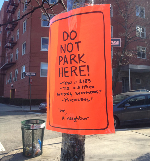 Eyes on the street next gen no standing signs in inwood for 100 park terrace west