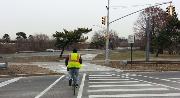 A new crossing at 114th Street and 34th Avenue yesterday. Photo: Stephen Miller