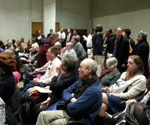 The room was full as the committee began debating resolutions and amendments. Photo: Stephen Miller