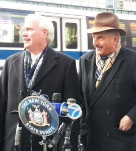 State Senator Tony Avella and Assembly Member David Weprin oppose a plan that would bring lower tolls to the Throgs Neck and Whitestone Bridges in eastern Queens. Photo: Stephen Miller