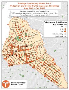 Cyclist and pedestrian injuries and fatalities in Greenpoint, Williamsburg and Bushwick. Map: Transportation Alternatives