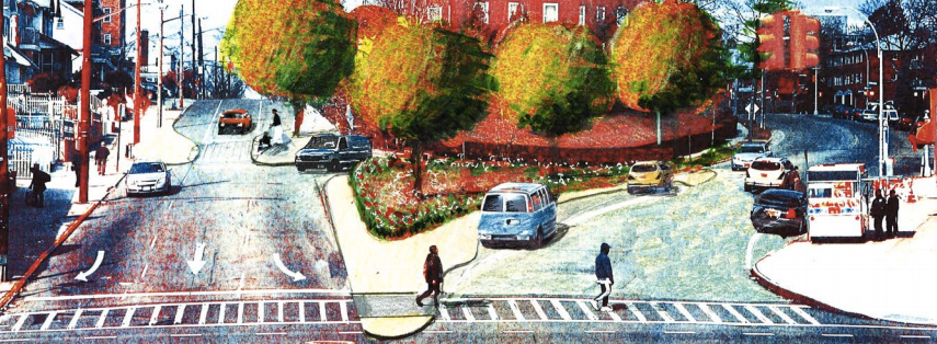A rendering shows expanded pedestrian space on Homelawn and 169th Streets at Hillside Avenue Image: DOT